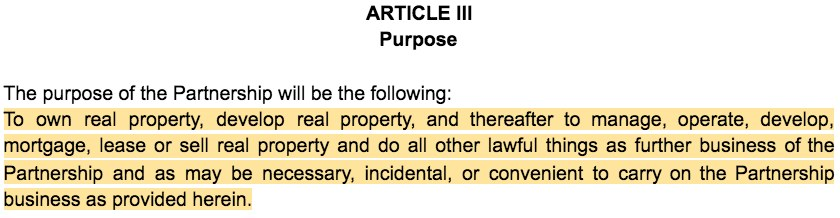 Screenshot of Partnership Agreement Article III Partnership Purpose