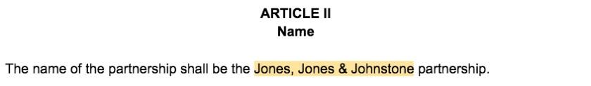 Screenshot of Partnership Agreement Article II Partnership Name