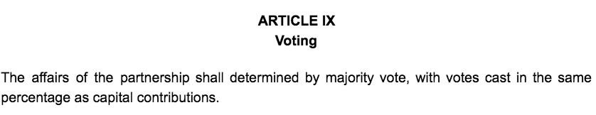 Screenshot of Partnership Agreement Article IV Partnership Term