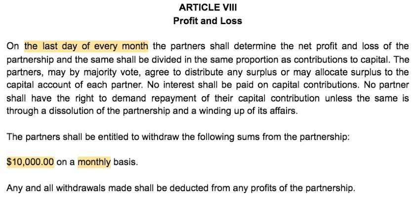 Screenshot of Partnership Agreement Article VIII Profit and Loss