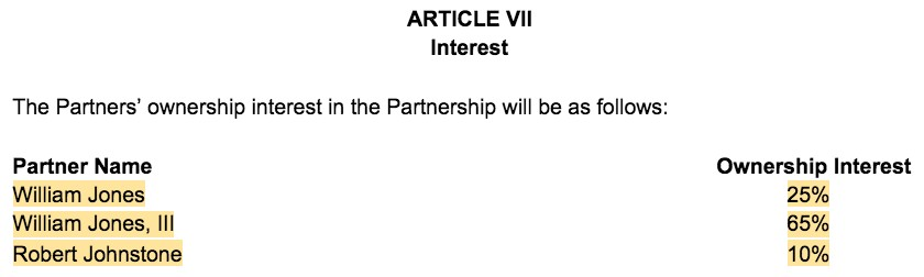 Screenshot of Partnership Agreement Article VII Interest