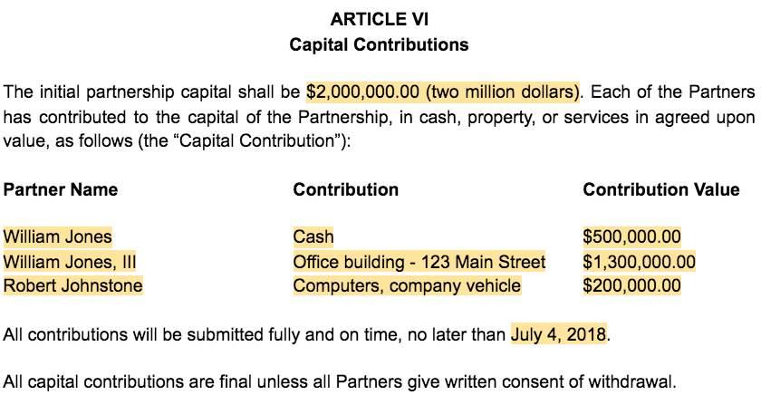 Screenshot of Partnership Agreement Article VI Capital Contributions