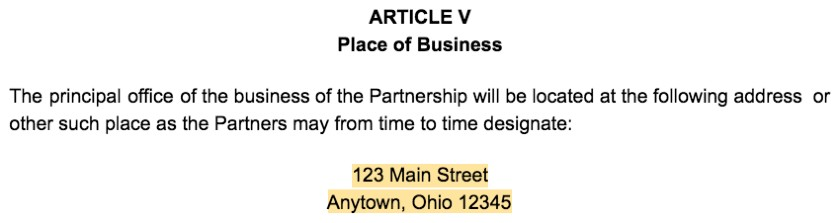 Screenshot of Partnership Agreement Article V Place of Business