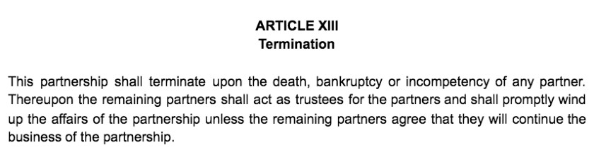 Screenshot of Partnership Agreement Article XIII Termination