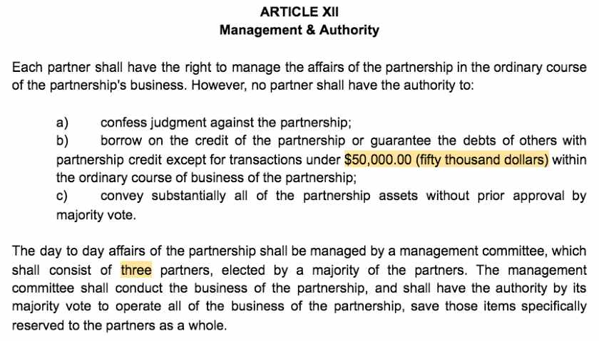 Screenshot of Partnership Agreement Article XII Management and Authority
