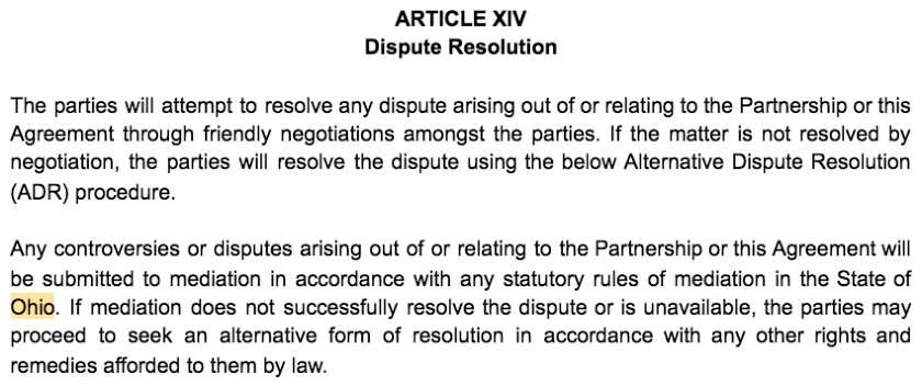 Screenshot of Partnership Agreement Article XIV Dispute Resolution