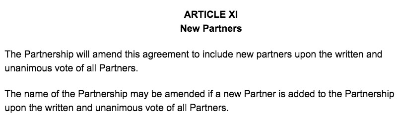 Screenshot of Partnership Agreement Article XI New Partners