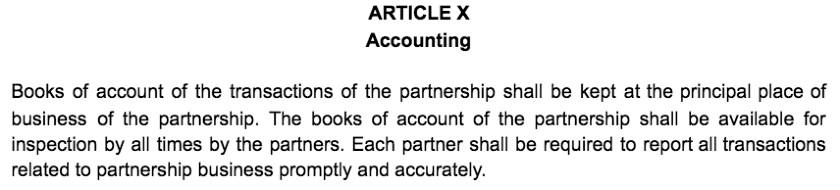 Screenshot of Partnership Agreement Article X Accounting