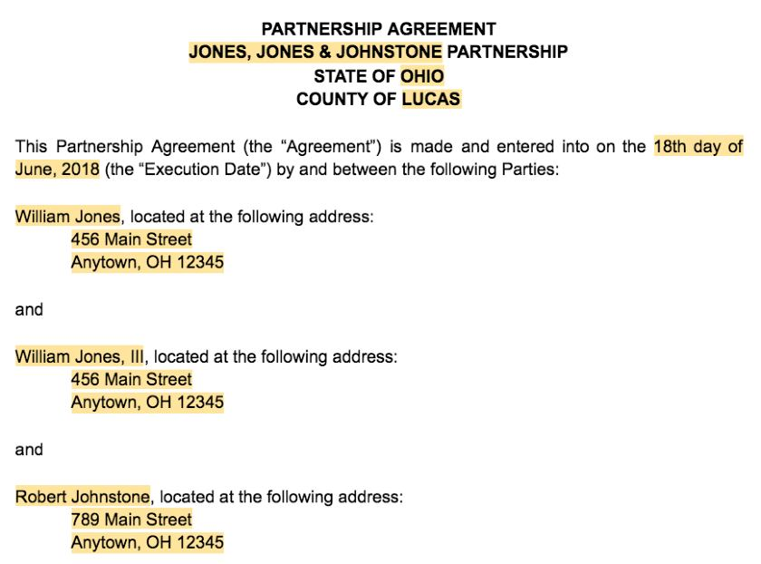 Screenshot of Partnership Agreement Introductory Information
