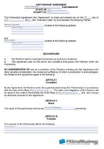 Business Partnership Contract Template from fitsmallbusiness.com