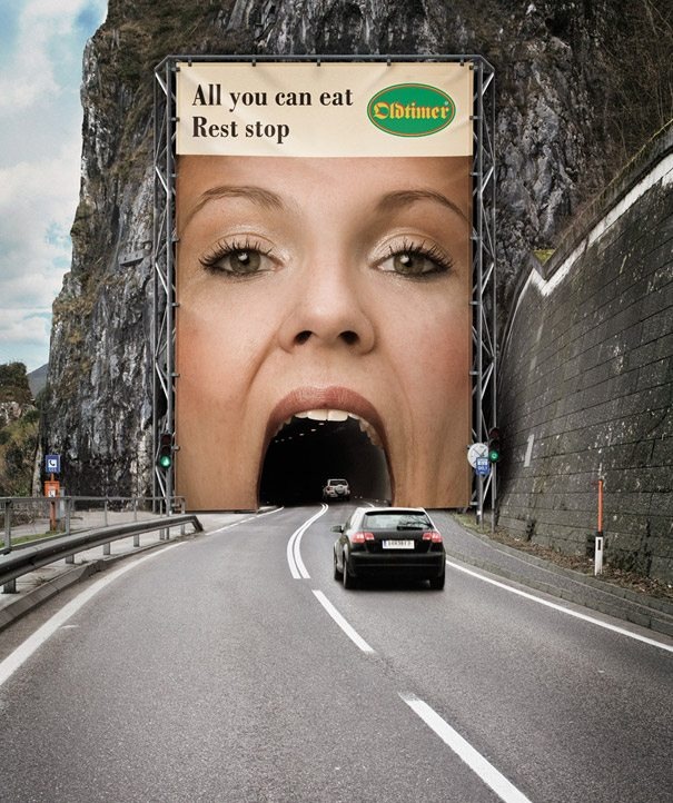 example of a billboard covering a roadway tunnel