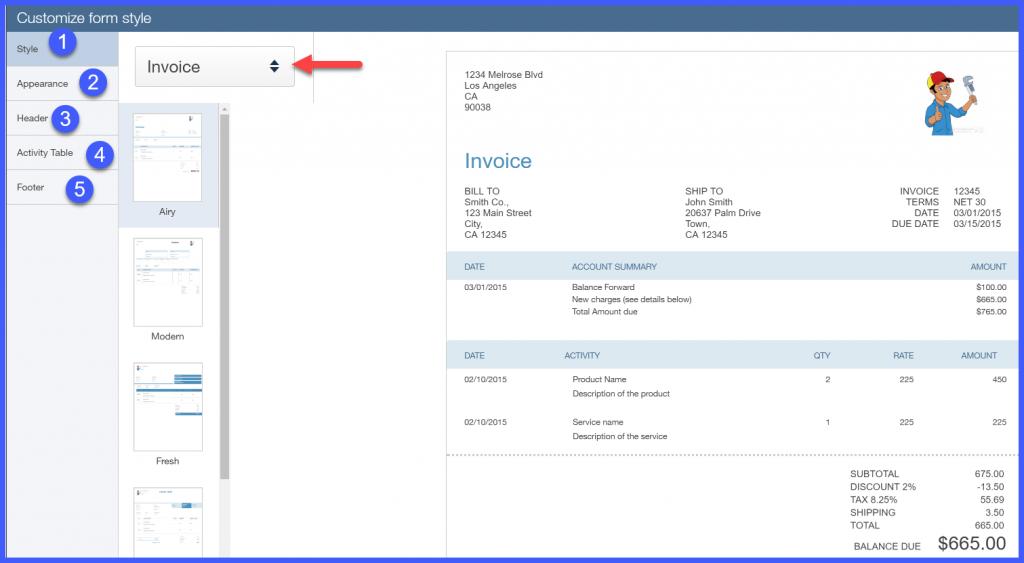 QuickBooks Online Invoice Window