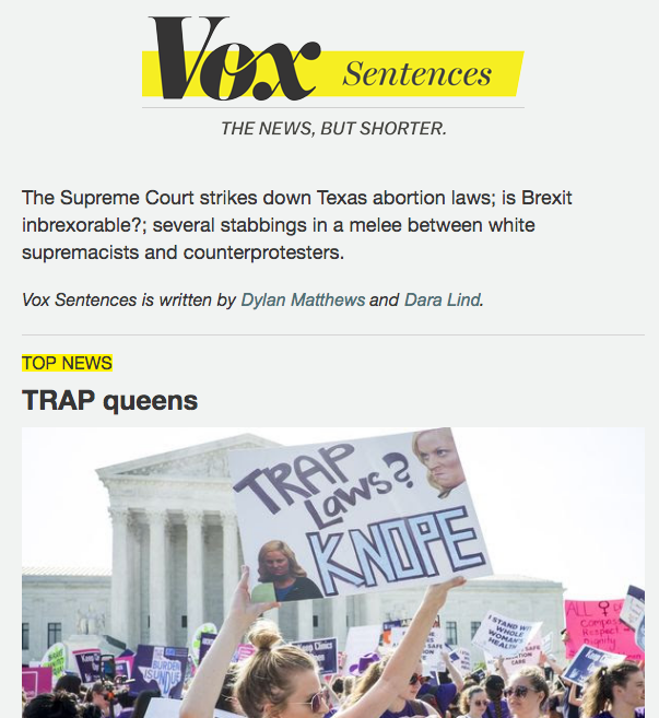 Vox Sentences - email newsletter templates - Tips from the pros