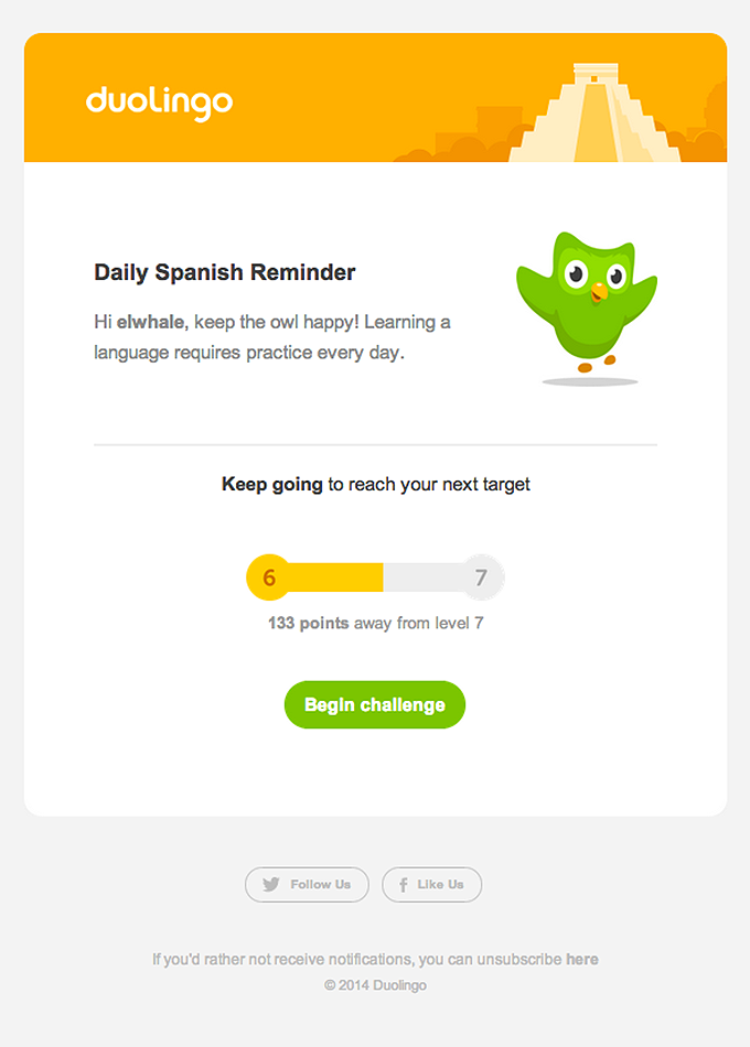 Duolingo - email newsletter templates - Tips from the pros