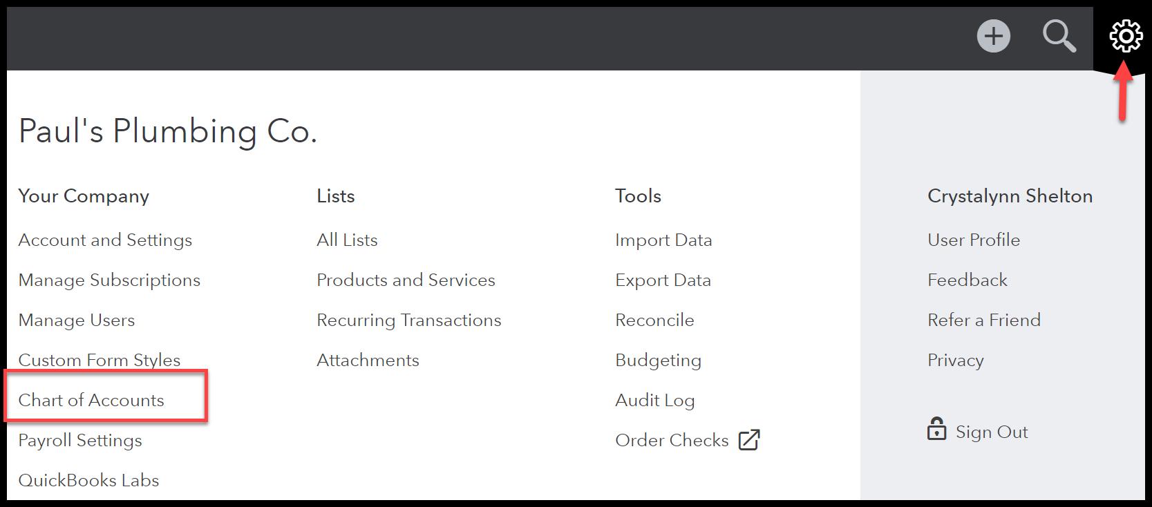 quickbooks chart of accounts