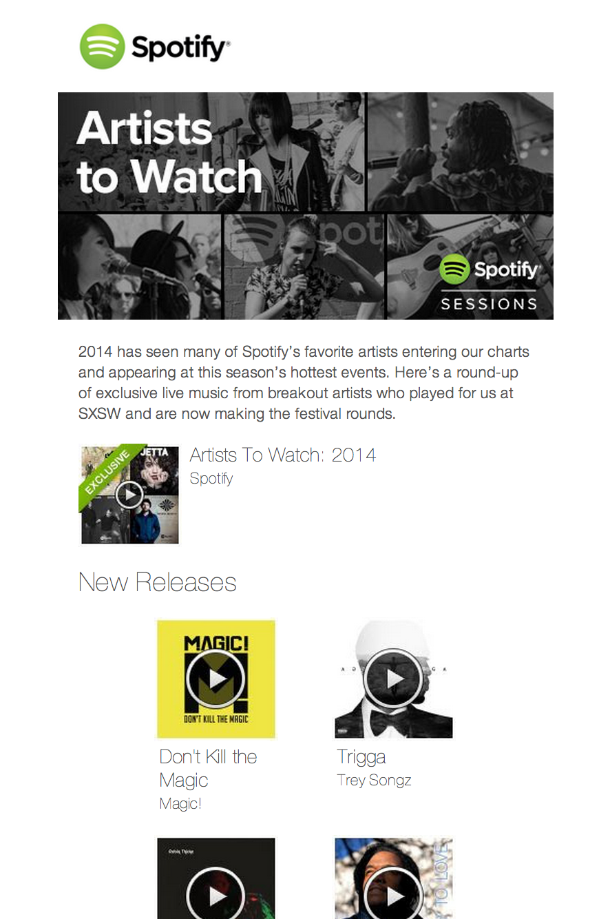 Spotify - email newsletter templates - Tips from the pros