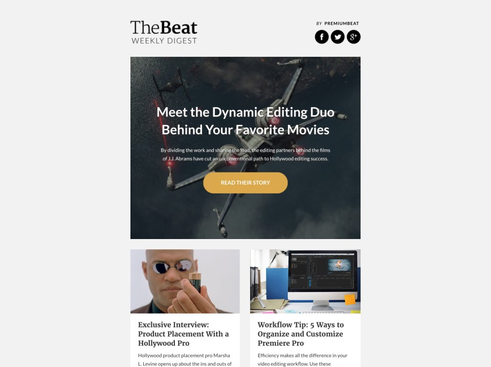 The Beat by Premium Beat - email newsletter templates - Tips from the pros