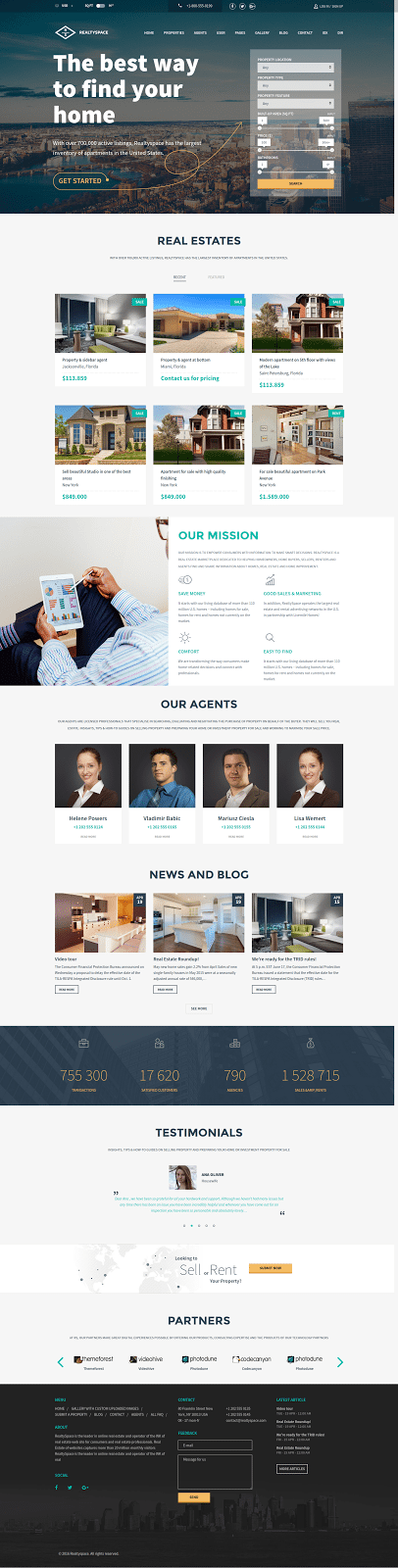 Realtyspace - real estate website templates