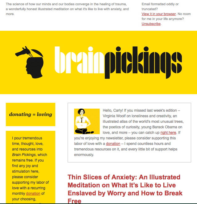 BrainPickings - email newsletter templates - Tips from the pros