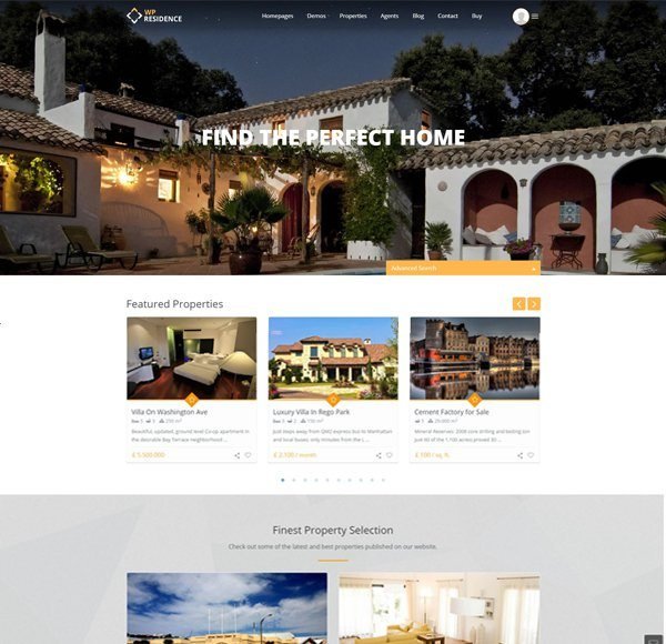 WP Residence - real estate website templates