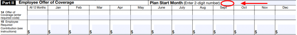 aca reporting Part II Employee Offer of Coverage Plan Start Month Image