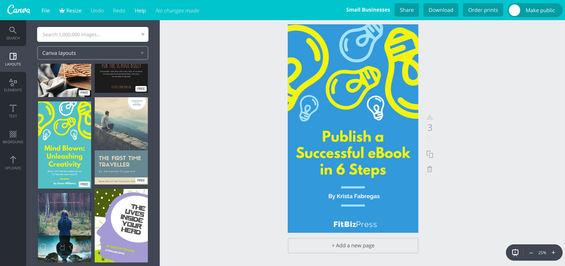 How to publish an ebook - use Canva to create ebook covers for free
