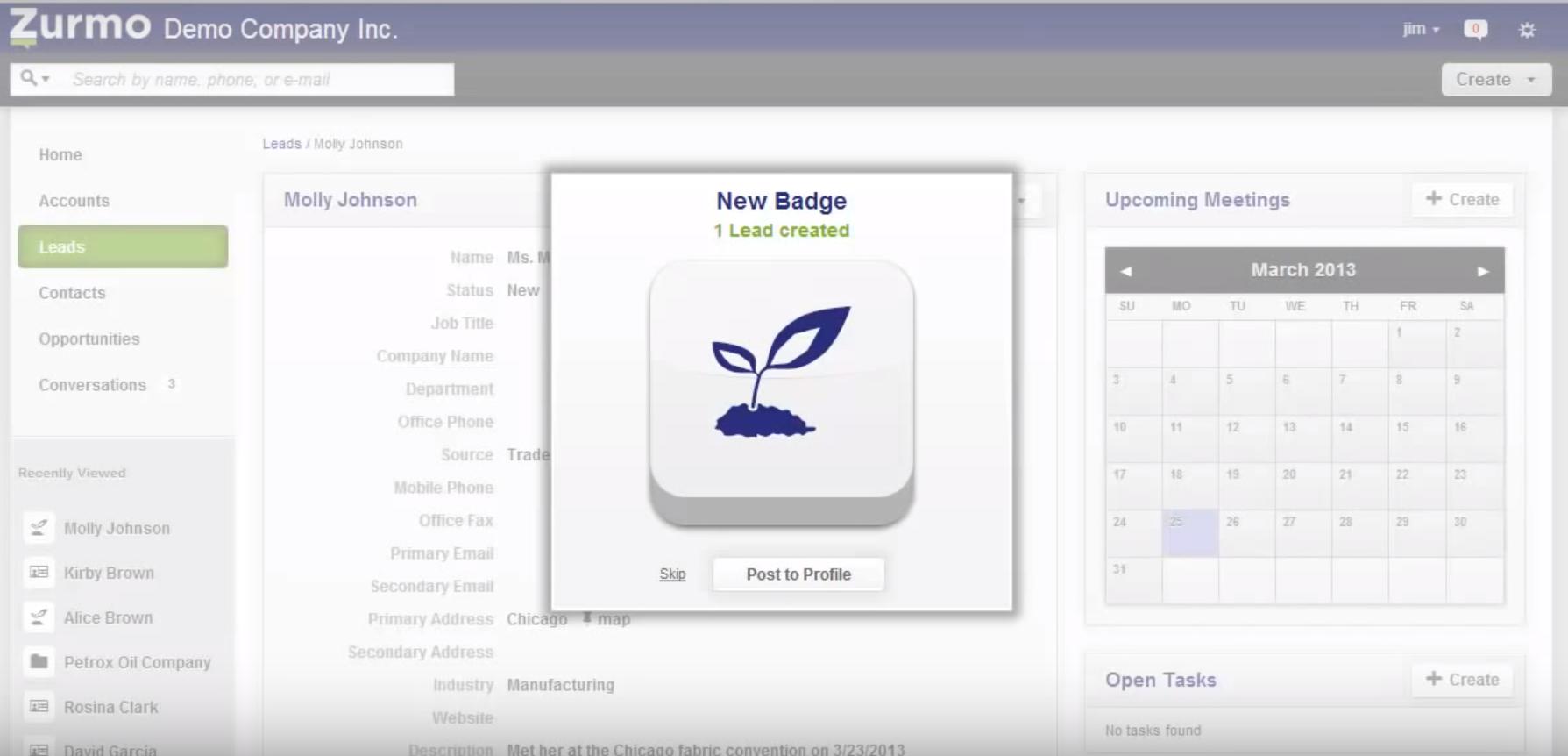 Zurmo Achievement Badge - open source crm