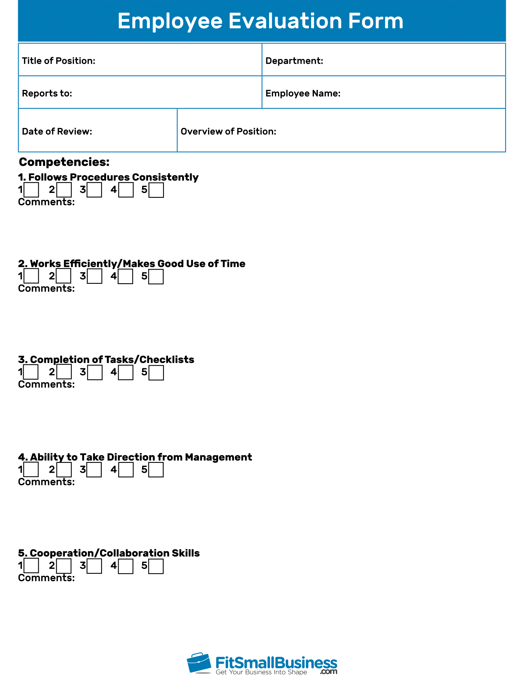 Employee Evaluation Forms Free Performance Review Templates