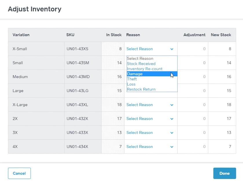 Screenshot of Adjustment Inventory
