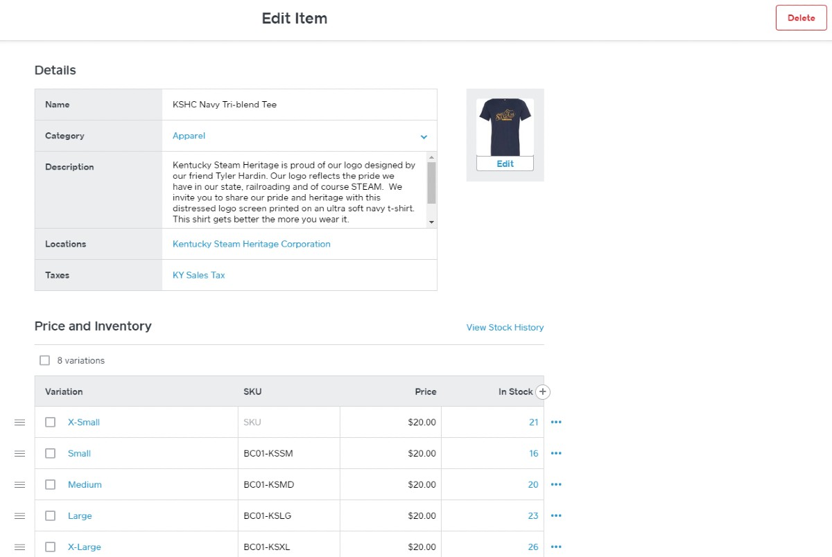 Screenshot of Square for Retail's product entry screens guide