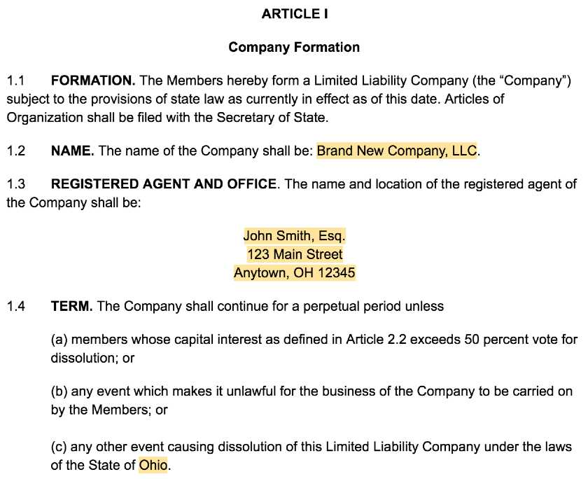 Screenshot of LLC Operating Agreement Template Article