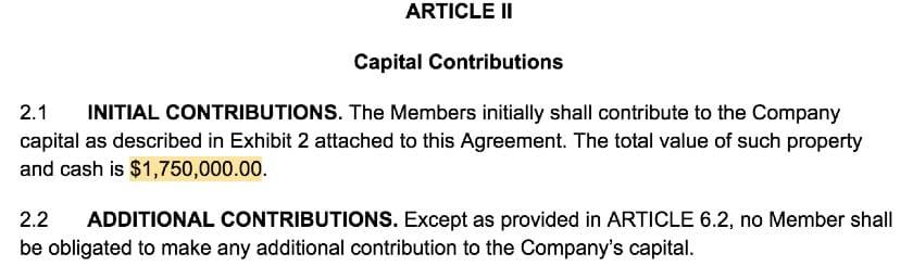 Screenshot of LLC Operating Agreement Template Article II