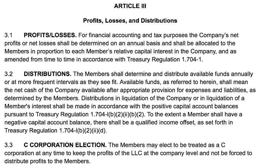 Screenshot of LLC Operating Agreement Template Article III