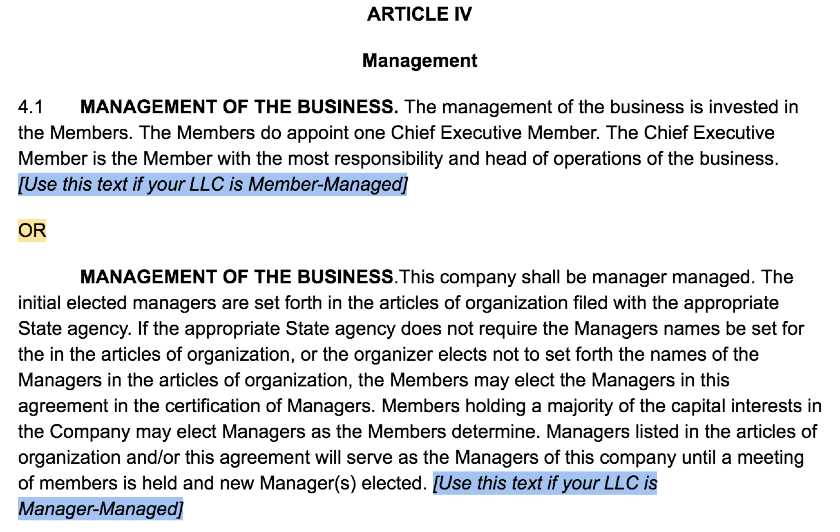Screenshot of LLC Operating Agreement Template Article IV