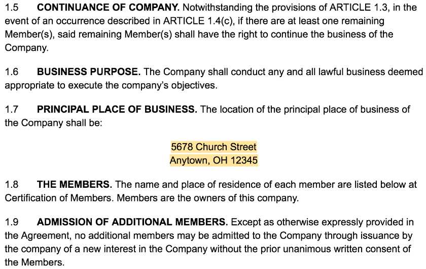 Screenshot of LLC Operating Agreement Template Article I 2