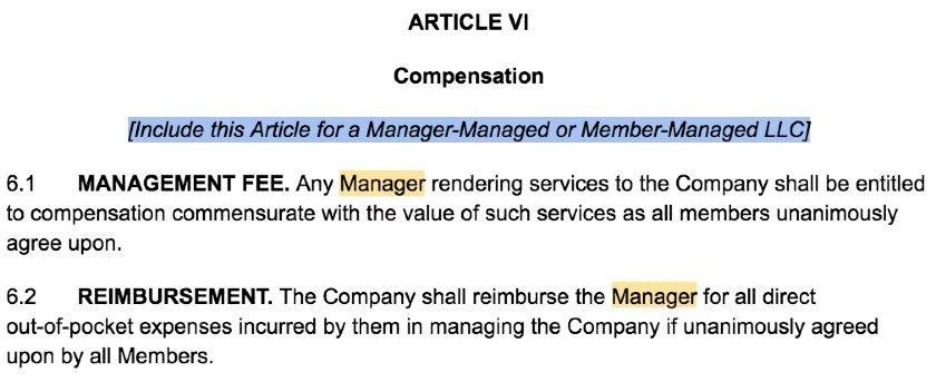 Screenshot of LLC Operating Agreement Template Article VI