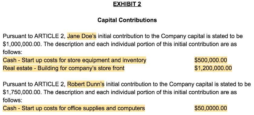 Screenshot of LLC Operating Agreement Template Exhibit 2