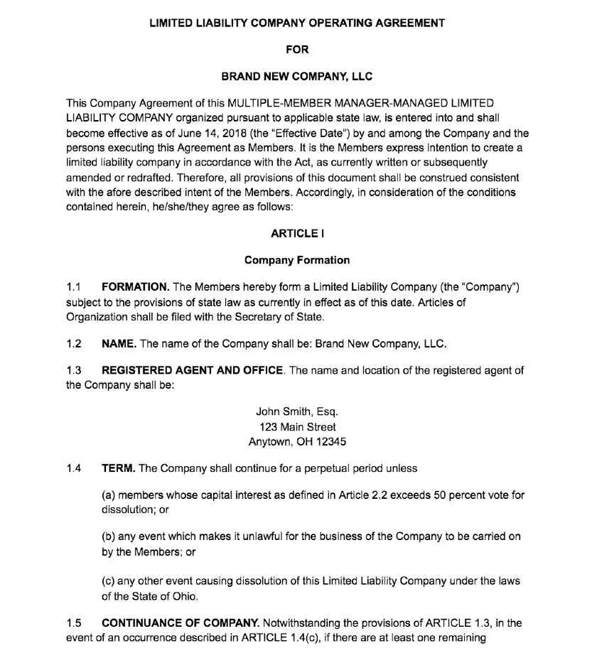Screenshot of Multi-Member LLC Operating Agreement
