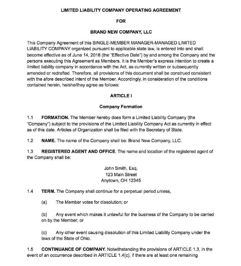 Screenshot of Single-Member LLC Operating Agreement