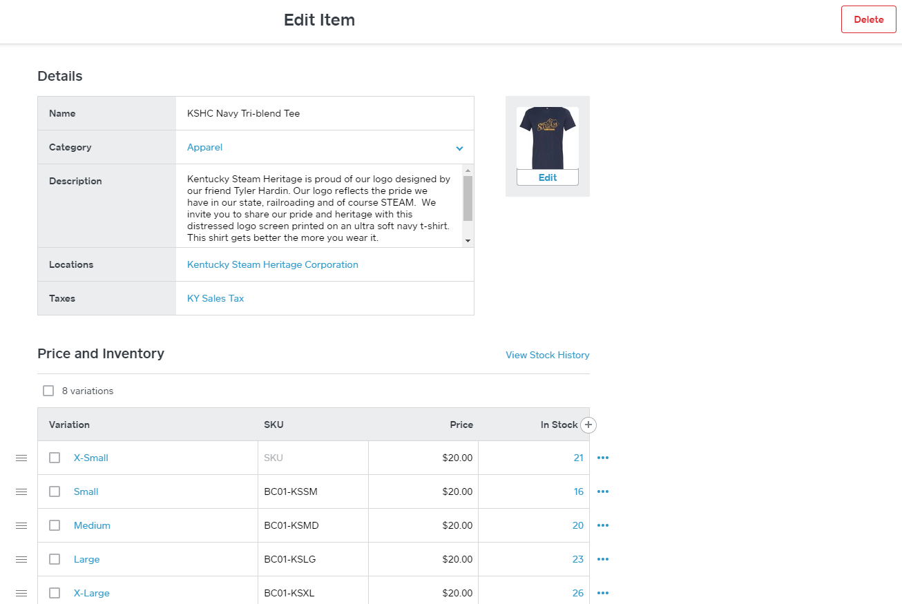 Square edit item product entry screens guide