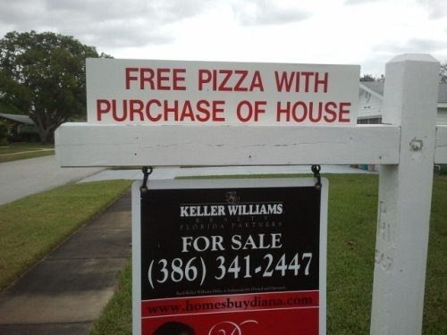 Free pizza with house, Keller Williams - Outrageous Real Estate Marketing Ideas