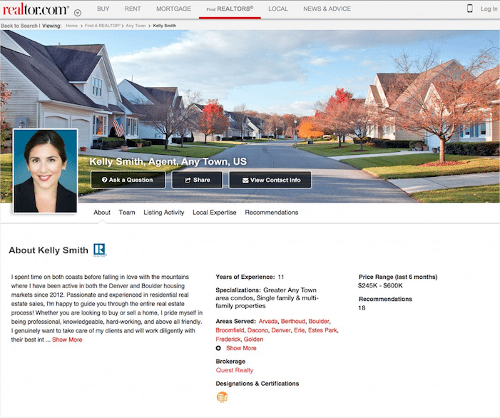 Realtor.com Agent Profile - real estate agent testimonials examples