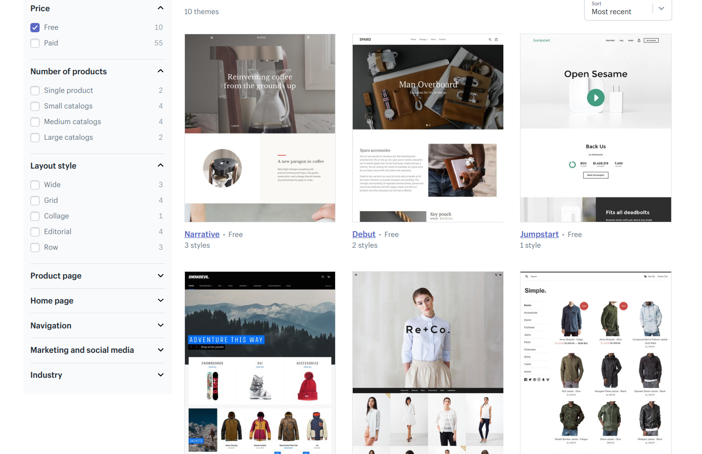 Shopify ecommerce platform -- free and paid themes