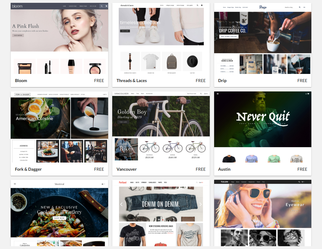 Volusion ecommerce platform -- sleek, modern site themes