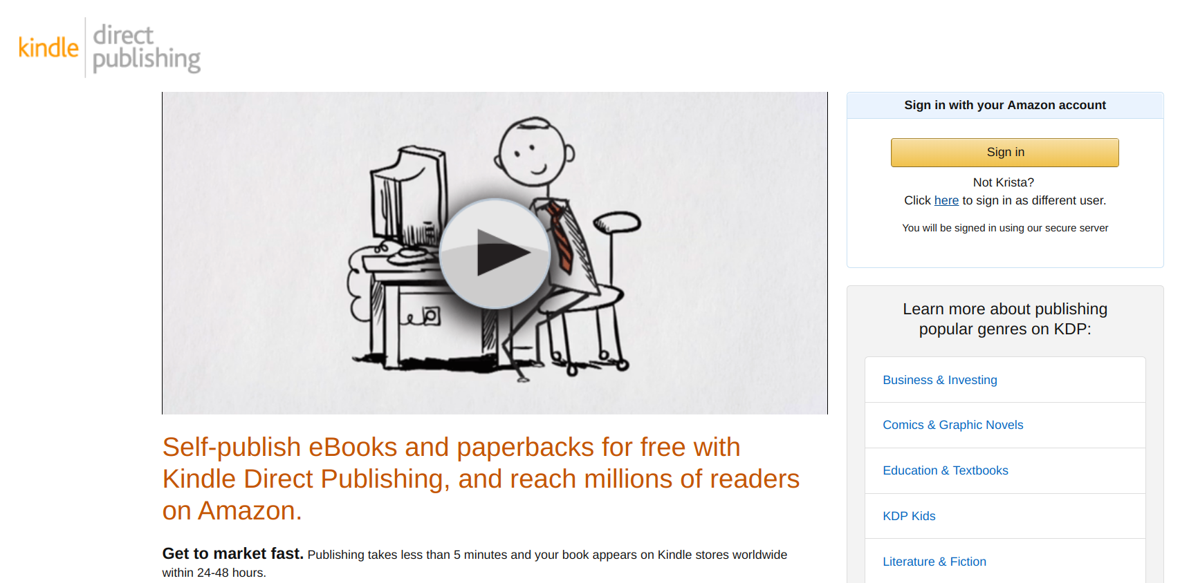 KDP - Kindle Direct Publishing - getting started