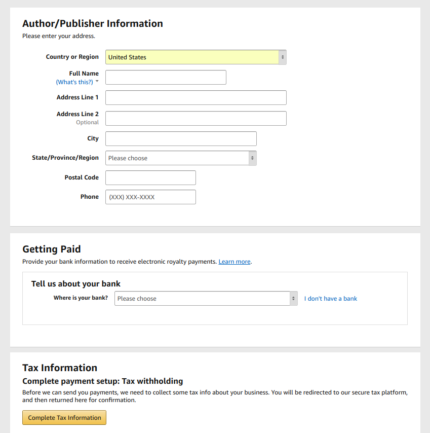 Amazon Kindle Direct Publishing author setup