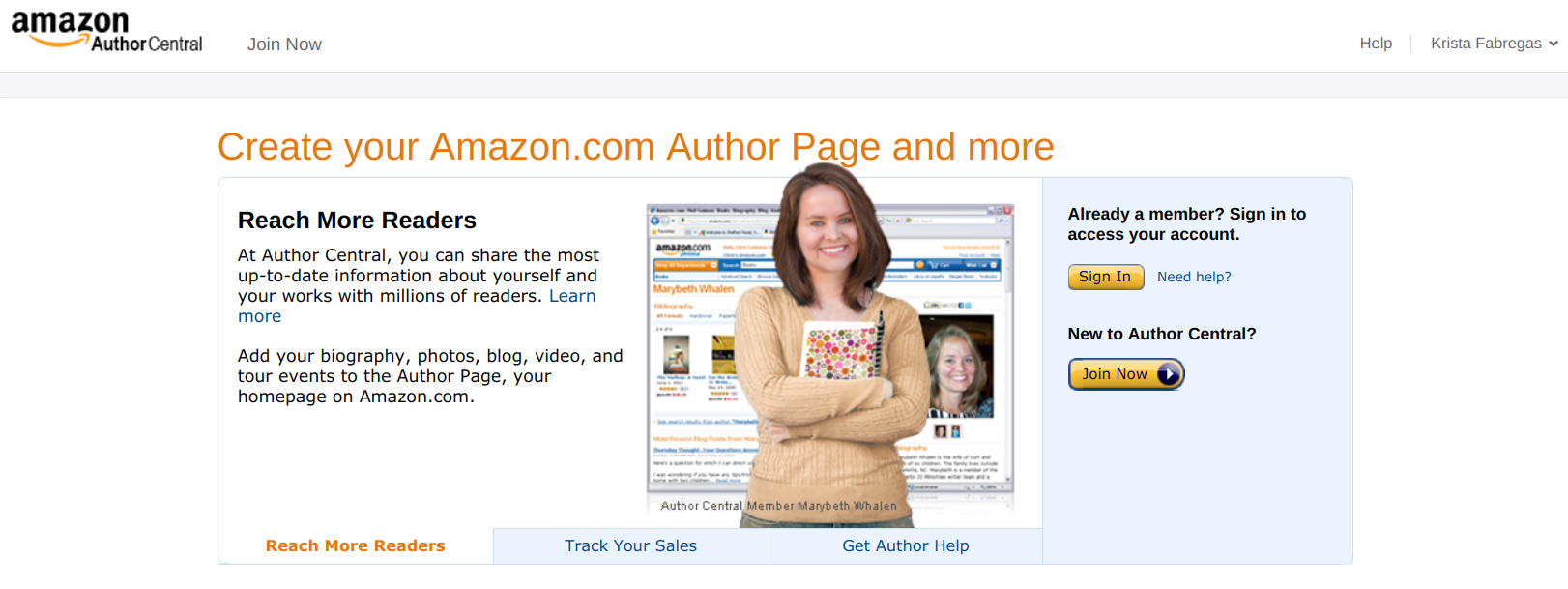 Author Page in Author Central - kindle direct publishing