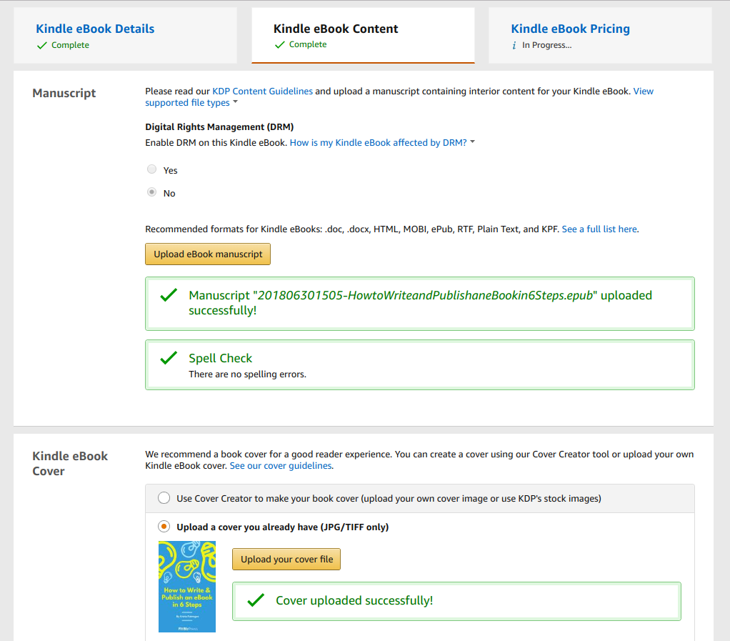 KDP - Amazon Kindle Direct Publishing - upload an ebook file