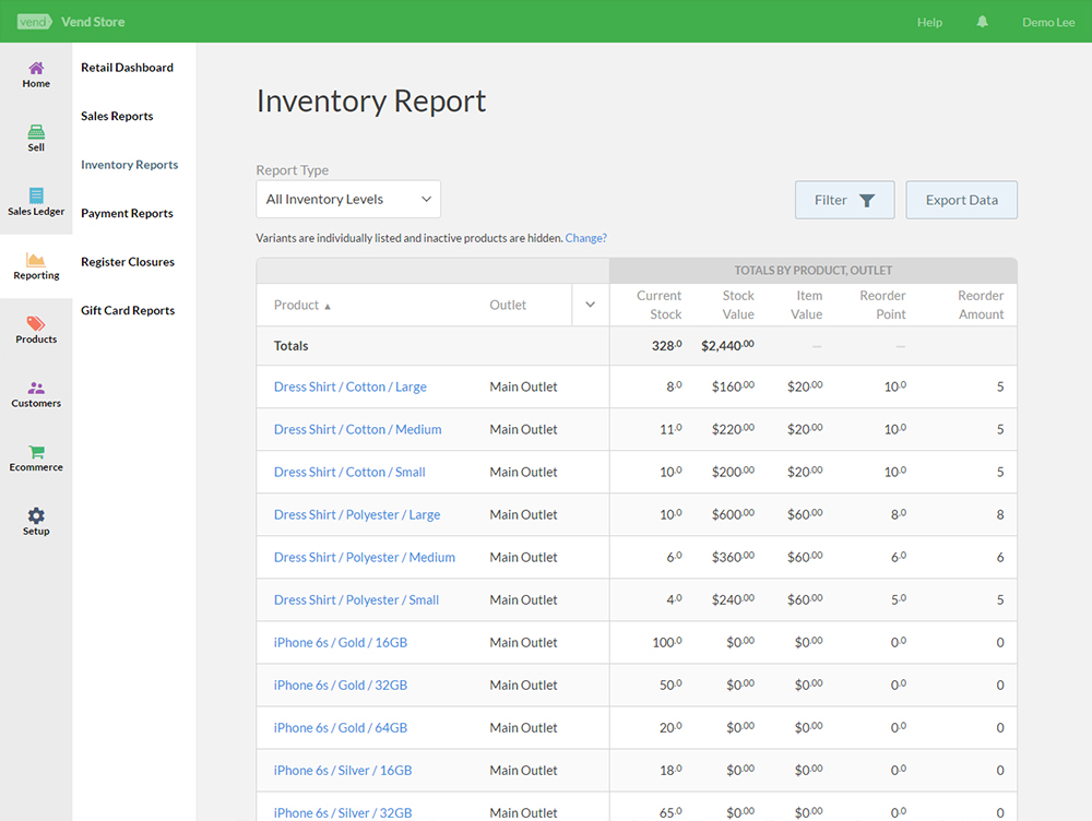 Vend - retail inventory management
