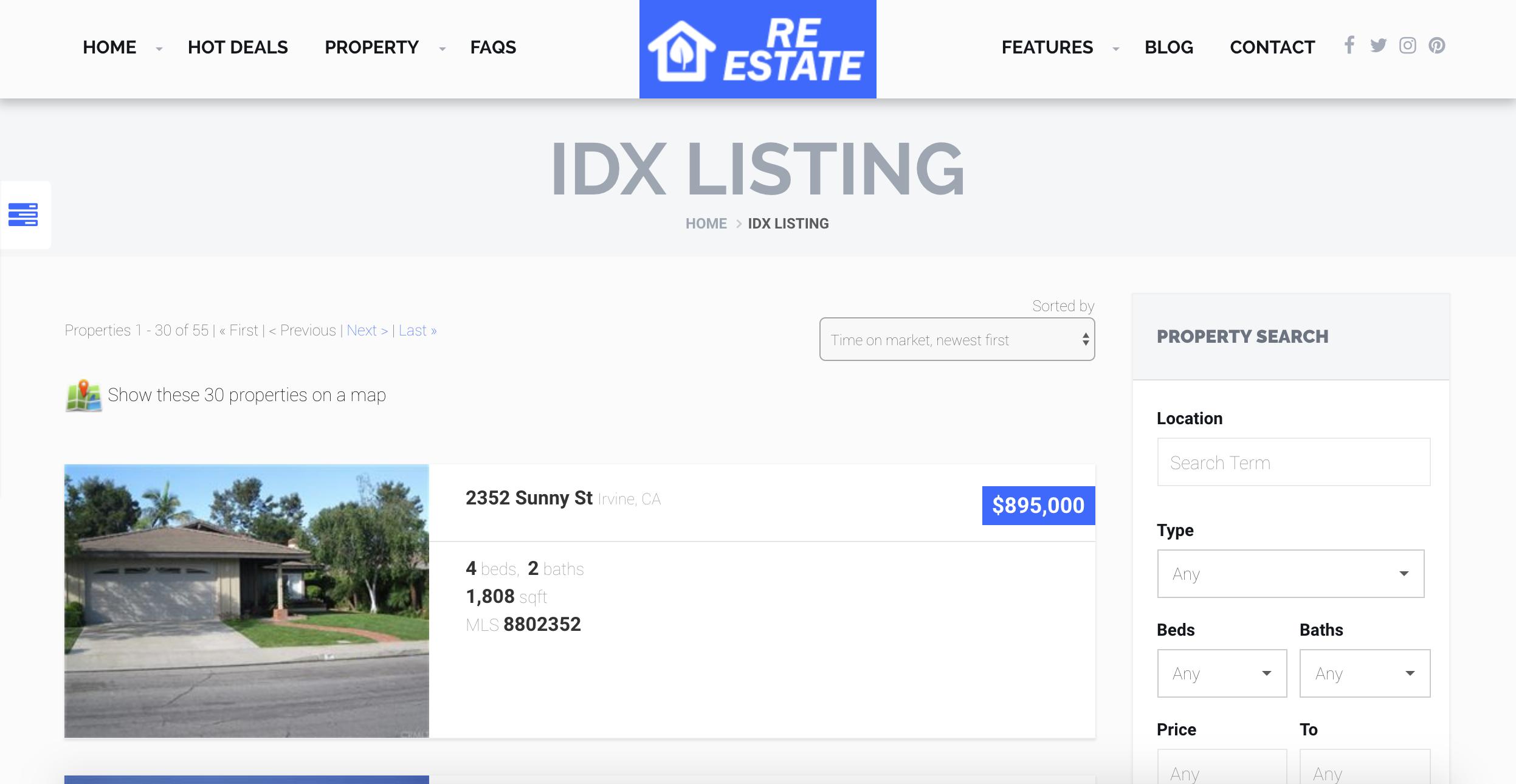 IDX search page - mls idx